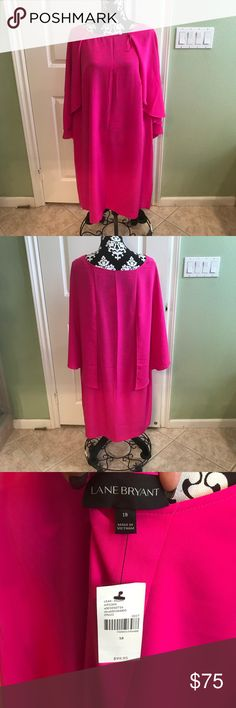 Lane Bryant  Fuchsia Cape Sleeve Dress NWT Brand new never worn. Perfect for any occasion Lane Bryant Dresses Midi