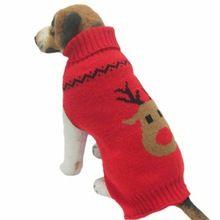 2016 di modo caldo vestiti del cane da compagnia inverno di lana maglieria giacche puppy abbigliamento deer head stampato cappotto collo alto giacche(China (Mainland))
