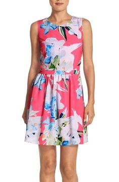 CeCe by Cynthia Steffe 'Jordyn' Floral Print Fit & Flare Dress (Regular & Petite)