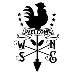 Silhouette Design Store: Welcome Rooster Wind Compass Sign Rooster Silhouette, Animal Silhouette, Silhouette Design, Diy Wood Projects, Vinyl Projects, Cricut Tutorials, Cricut Ideas, Diy Tumblers, Wood Burning Patterns