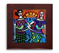Hawaiian Mermaid Tiki Mexican Folk Art Ceramic Framed Tile by Heather Galler - Ready To Hang Tile Frame Gift