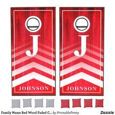 Family Name Red Wood Faded Chevron Monogram Cornhole Set Custom Cornhole Boards, Cornhole Set, Johnson Family, Johnson And Johnson, Cross Beam, Chevron Monogram, Red Wood, Epic Games, School Colors