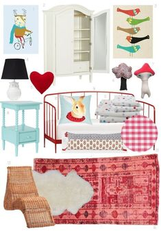 """Colors for Sophie & James' room?  Red & light blue . . . darling.  Kids Room Style Board: Scandinavian-Inspired """"Hyggelig"""" 