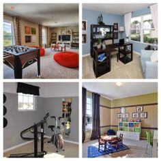 """Check out our unique Flex Space feature offered in our many Centex Home communities all over the country!!  From a workout area to a homework space for the kids or even a cool """"Man Cave"""" game/TV room, Centex Home Flex Space options can be used to help accommodate you & your family's every home need. #flexspace #homedesign"""