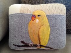 Needle Felted Yellow Budgie Pillow made from Recycled Sweater Fabric by Val's Art Studio