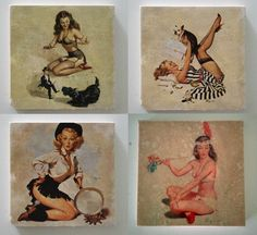 Custom set of 4 Vintage Pinup coasters at The Atelier Bleu. #coasters #homegoods #vintage #retro #pinup #pinupgirls #fun #home #gifts #gift #coffeetable #table #housewares #rockabilly
