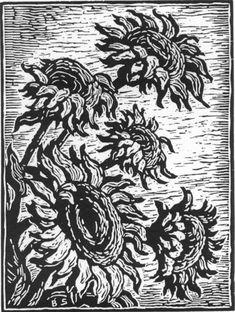 Birger Sandzen United States Sunflowers Woodcut The Prairie Print Makers Collection Linocut Prints, Art Prints, Block Prints, Linoleum Block Printing, Ink Pen Drawings, Monochrom, Wood Engraving, Woodblock Print, Artwork