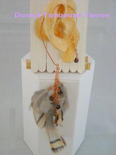 Copper  Ear Wrap Partridge Feathers by DanusTreasureTrove on Etsy, $20.00