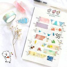 Are you a washi tape collector?? Me too! Here are 20 different creative washi tape swatch layouts for you to use in your bullet journal! #bulletjournal #bulletjournallayout Diy Bullet Journal, Bullet Journal Washi Tape, Bullet Journal Banner, Bullet Journal Aesthetic, Bullet Journal Writing, Bullet Journal Spread, Bullet Journal Ideas Pages, Bullet Journal Layout, Washi Tape Notebook