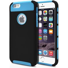iPhone 6 Case Cute Protective Hard Shockproof [Drop Protection] Fashion Cover for Apple iPhone 6 (4.7') Impact Resistant Hybrid Slim Armor Case [ Black / Light Blue ] with Clear Screen Protector   MagicMobile