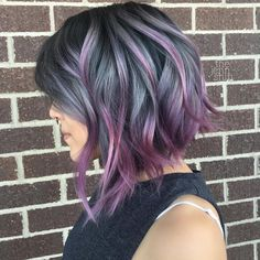 Smoke that hair @thejennshin exquisite charcoal color with ribbons of purple…
