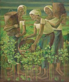 View Tomato Pickers By Anita Magsaysay-Ho; oil on canvas; Access more artwork lots and estimated & realized auction prices on MutualArt. Filipino Art, Filipino Culture, Philippine Art, Philippines Culture, Artist Life, Best Artist, Asian Art, Oil On Canvas, Canvas Paintings