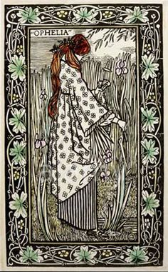 "Lucien Pissarro (1863-1944). Ophelia, from ""Les Moralites Legendaires,"" v. 2, 1898. Coloured woodcut."