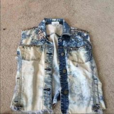 Distressed jean jacket Studded, ripped, bleached jean vest Jackets & Coats Vests