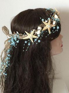 Tiara Hairstyles, Party Hairstyles, Mermaid Hairstyles, Updo Hairstyle, Mermaid Cosplay, Diy Mermaid Costume, Mermaid Outfit, Starfish Costume, Blue Mermaid Hair