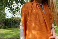 Bright orange embroidered silk shawl, handwoven in India. Silk Shawl, Embroidered Silk, Hand Weaving, Sari, Bright, Collections, Orange, Fashion, Saree
