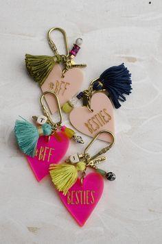 Best Friend Personalized heart keychains Valentines day gift