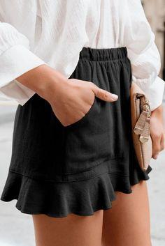 Casual Pocketed Flutter Black Linen Cotton Shorts, Shop for cheap Casual Pocketed Flutter Black Linen Cotton Shorts online? Buy at Modeshe.com on sale!