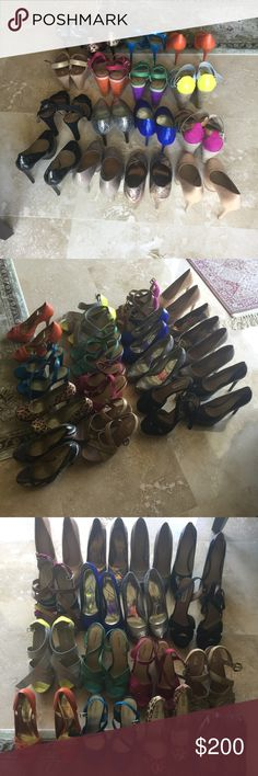 Lot of 15 shoes/ heels/ sandals 15 pairs, size is 9 there are a few 9.5. They're all from my personal closet some worn once some a couple times, all in great condition. Steve Madden, Madden girl, guess, ugg, express, Charles David, inc concept, Carlos Santana, kelsi Dagher, phat pharm, xiliration. lot Shoes Sandals
