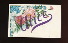 """antique Greeting Postcard Name Card """" Alice"""" with Flowers-vintage-ggg611"""