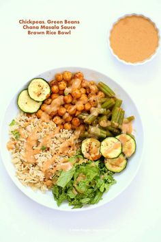 Easy Masala Chickpea Bowl with Green beans, brown rice & Chana masala spice cream Sauce. How to make Chickpeas spiced w/ Indian spices. Vegan Gluten-free Recipe