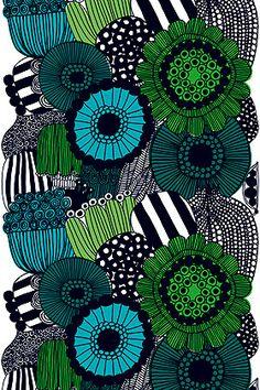 Another Marimekko pattern - I LOVE them ALL! Siirtolapuutarha cotton fabric by Marimekko Art Design, Textile Design, Fabric Design, Pattern Design, Textures Patterns, Fabric Patterns, Print Patterns, Floral Patterns, Green Tablecloth