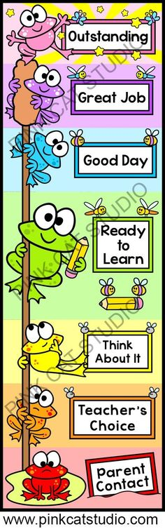This adorable frog theme behavior clip chart will look fantastic in your kindergarten classroom! The fun cattail design will spark your students' natural desire to climb. Encourage your students to climb to the top of the cattail by making good choices. Frog Theme Classroom, Classroom Organisation, Classroom Behavior, Classroom Rules, Kindergarten Classroom, Future Classroom, School Classroom, Classroom Management, Behavior Management