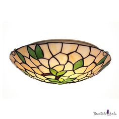 Tiffany flush mount fancy stained glass 16 inch wide tiffany flush two lights green leaves motif flush mount ceiling light in tiffany style aloadofball Image collections