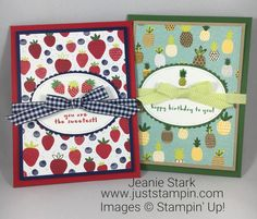 Stampin Up Envelope Punch Board and Fruit Basket Bundle card ideas to hold treats - Jeanie Stark StampinUp Fruit Stands, Thanks Card, Envelope Punch Board, Stamping Up Cards, Card Sketches, Homemade Cards, Making Ideas, Cardmaking, Birthday Cards