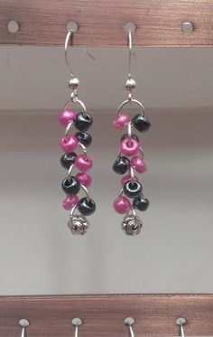 $8.99 FREE SHIPPING Pink/Metallic Black Glass Beaded Dangle Earrings with Flower Bead by MysteryDealMichelle