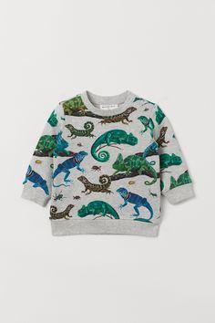 d32dc5589c5335 H M Patterned Sweatshirt - Gray · Graues SweatshirtGrafik- sweatshirtChamäleonsEidechsenAusschnittBaumwolle VerschlüsseWeihnachtspulloverSweatshirts
