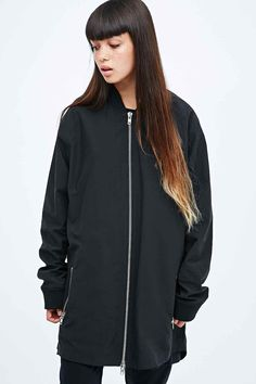 Blood Brother Charlie Tape Long Bomber Jacket in Black