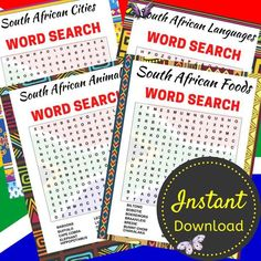South African Word Search Printable Bundle, Travel Activity Sheets, Word Search Puzzle For Adults and Teens, Printable, Instant Download South African Word Search Printable Bundle, Travel Activity Sheets, Word Search Puzzle For Adults and Teens, Printable, Instant Download<br> Printable Crossword Puzzles, African Words, Word Search Puzzles, Activity Sheets, Travel Activities, Letter Size, Africa Travel, Sell On Etsy, Printables