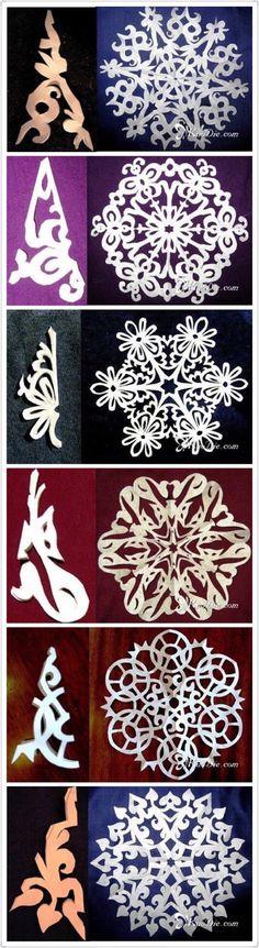 【圣诞手工】29款DIY剪纸雪花图解(4)每一个图样都美到爆