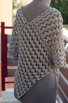 Best 12 Kimansi Crochet pattern by Asimina Saranti Crochet Poncho With Sleeves, Crochet Poncho Patterns, Tunic Pattern, Crochet Blouse, Crochet Shawl, Easy Crochet, Knit Crochet, Crochet Bolero Pattern, Crochet Granny