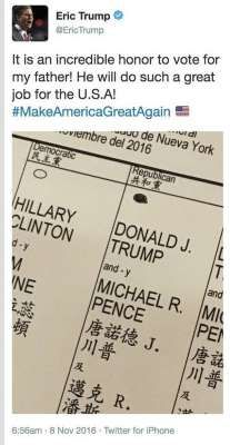 Evidencia. El tuit de Eric Trump que prueba que el hijo del candidato republicano violó una ley centenaria de Nueva York al emitir su voto. (Twitter)