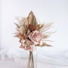 Pink Flower Arrangements, Floral Bouquets, Wedding Bouquets, Blush Flowers, Pretty Flowers, Boho Flowers, Silk Flowers, Dried Flower Bouquet, Hand Bouquet