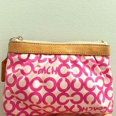 LIKE NEW- never used. Coach clutch bag Dark pink and light pink bag. Leather Coach Bags Clutches & Wristlets