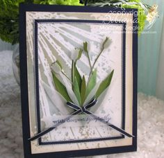 By Bibiana. Sympathy card featuring Memory Box Dancing Tulips die, Shine stencil. and shine stencil