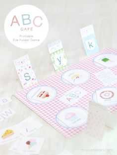 ABC cafe - alphabet matching printable file folder game