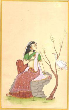 Rajasthan Miniature Ragini Art Handmade Indian Ragamala Ethnic Folk Painting