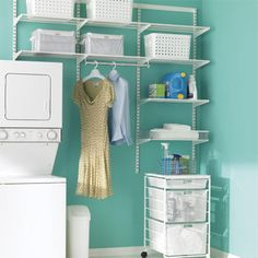 :: elfa closet system. White laundry space. The Container Store.