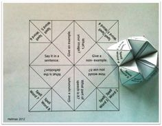 Here is a Marzano word work cootie catcher to use for review activities: spell, say, give example/non-example/synonym/part of speech/nonverbal representation/definition/sentence.  Picture: indulgy.com/...    Sample template and rules: http://pbskids.org/arthur/print/cootiecatcher/directions.html Once the cootie catchers are assembled, students will use their current vocabulary or spelling lists in any subject area to revew words.