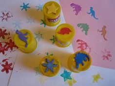 OH my goodness I've been throwing away empty PlayDough containers when I could have been turning them into stampers.