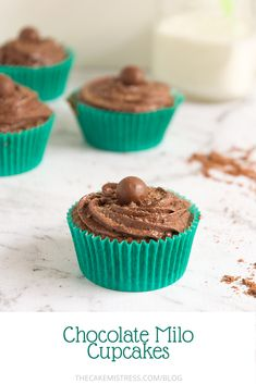 Chocolate cupcakes made with iconic Australian chocolate malt powder, Milo, topped with rich chocolate buttercream, Malteser dust and a Malteser. #Milo #cupcakes #Malt #chocolatemalt #buttercream #chocolate #Australiaday #Australiandesserts