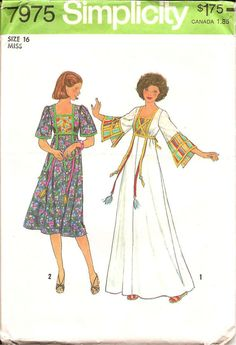 1970s Womens Caftan Dress - Simplicity 7975 Vintage Pattern - Bust 38 Size 16 UNCUT FF
