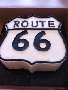 Chocolate cake with chocolate ganache route 66 design.  Vanilla buttercream icing serves 18-20 people.  KAK Bakery in Phoenix Arizona