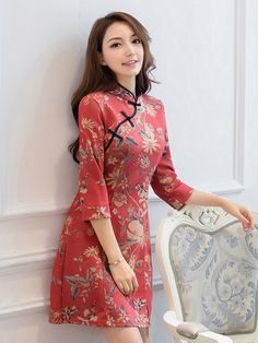 Red Floral Long Sleeve Qipao / Cheongsam Dress in Micro Suede