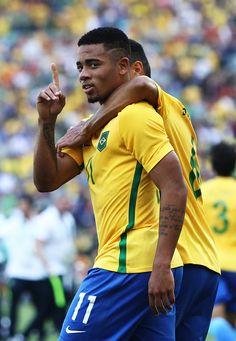 Gabriel Jesus of Brazil celebrates scoring during the Men's Semifinal Football…