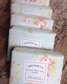 Handmade Soap by Erie Soap Co. Handmade Soap by Erie Soap Co. Handmade Soap Packaging, Handmade Soaps, Packaging Ideas, Handmade Ideas, Soap Wedding Favors, Soap Favors, Soap Packing, Soap Labels, Honey Soap